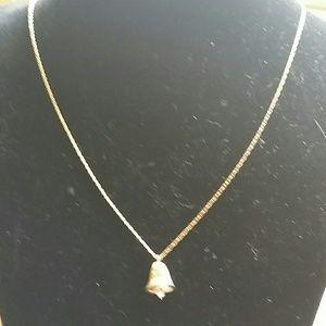 "Jewelry - Solid 14k diamond bell pendant on 22"" 14k chain"